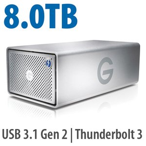 (*) 8.0TB G-Technology G-RAID with Thunderbolt 3