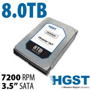 (*) 8.0TB HGST Ultrastar He8 3.5-inch SATA 6.0Gb/s 7200RPM Enterprise Class Hard Drive *Tested Pull*