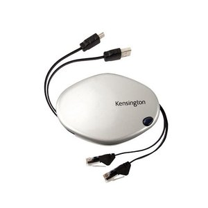 Kensington PocketLink 3-in-1 Cable- Retractable Ethernet, USB & Telephone Cable
