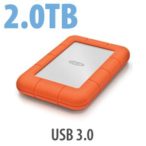 2.0TB LaCie Rugged Mini All-Terrain Hard Disk - USB 3.0 Interface.