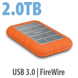 2.0TB LaCie Rugged All-Terrain Hard Disk - USB 3.0 & FireWire 800 Interfaces.