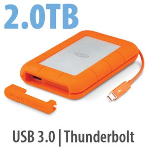 2.0TB LaCie Rugged Thunderbolt Professional All-Terrain Storage - USB 3.0 & Thunderbolt Interfaces.
