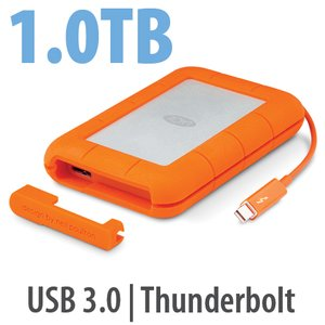 1.0TB LaCie Rugged Thunderbolt Professional All-Terrain Storage - USB 3.0 & Thunderbolt Interfaces.