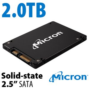 "2.0TB Micron 2.5"" SATA 6Gb/s SSD (1.5Gb/s, 3.0Gb/s backwards compatible)."