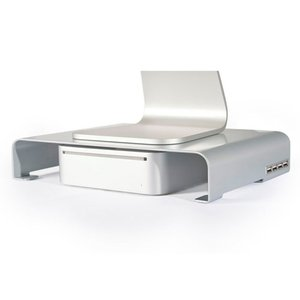 Macessity Stand By Mi v2 - Steel Monitor Stand for Mac mini with integrated 4 port USB 3.0 hub.