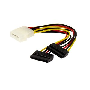 SATA Hard Drive Power Adapter Y-Cable: 4-Pin (Old Style) to 2 x 15-Pin SATA Power Connector