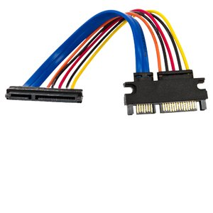 8-inch SATA 22 Pin Male to 22 Pin Female Data & Power Combination Extender Cable