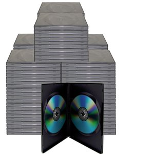 100 Black Dual Disc Cases for CD/DVD Media - Package your DVD and CD projects like the studios do!
