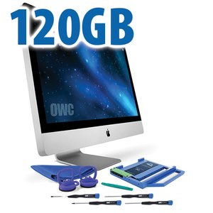 "DIY Kit for 2009 - 2011 27"" iMac optical bay: 120GB OWC Mercury Electra 3G SSD and OWC Data Doubler."