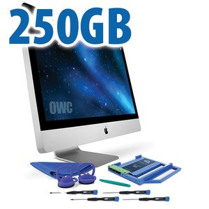 "DIY Kit for 2009 - 2011 27"" iMac optical bay: 250GB OWC Mercury Electra 3G SSD and OWC Data Doubler."