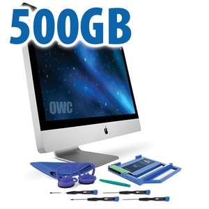 "DIY Kit for 2009 - 2011 27"" iMac optical bay: 500GB OWC Mercury Electra 3G SSD and OWC Data Doubler."