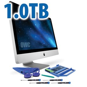 "DIY Kit for 2009 - 2011 27"" iMac optical bay: 1.0TB OWC Mercury Extreme Pro 6G SSD and Data Doubler."