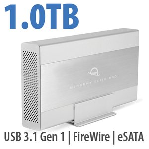1.0TB OWC Mercury Elite Pro 7200RPM Storage Solution with USB3.1 Gen 1 + eSATA + FW800/400