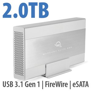 2.0TB OWC Mercury Elite Pro 7200RPM Storage Solution with USB3.1 Gen 1 + eSATA + FW800/400