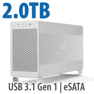 2.0TB OWC Mercury Elite Pro Dual RAID 7200RPM Storage Solution with USB 3.1 Gen 1 + eSATA