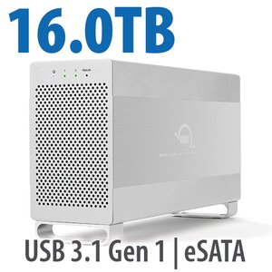 16.0TB OWC Mercury Elite Pro Dual RAID 7200RPM Storage Solution with USB 3.1 Gen 1 + eSATA