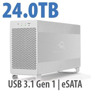 24.0TB OWC Mercury Elite Pro Dual RAID 7200RPM Storage Solution with USB 3.1 Gen 1 + eSATA