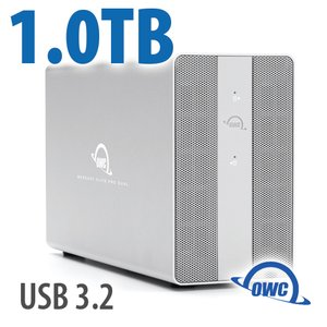 1TB OWC Mercury Elite Pro Dual SSD RAID Storage Solution with USB (10Gb/s) + 3-Port Hub