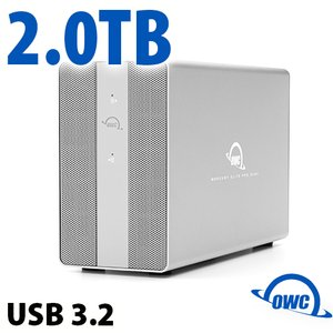 2TB OWC Mercury Elite Pro Dual SSD RAID Storage Solution with USB (10Gb/s) + 3-Port Hub