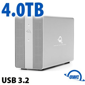 4TB OWC Mercury Elite Pro Dual SSD RAID Storage Solution with USB (10Gb/s) + 3-Port Hub