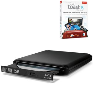 OWC Slim USB 2.0 Portable Tray-Loading 6X Blu-ray Burner+ SuperMultiDrive w/Roxio Toast 15 Ti+HD
