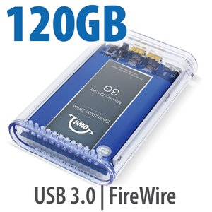 120GB SSD OWC Mercury On-The-Go FireWire 800 / 400+USB3 SSD Portable Bus Powered Solution.