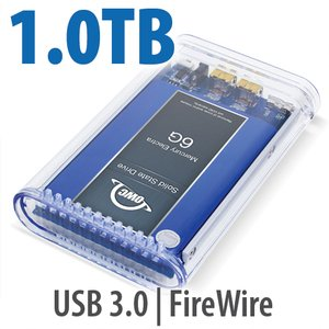 1.0TB SSD OWC Mercury On-The-Go FireWire 800 / 400+USB3 SSD Portable Bus Powered Solution.