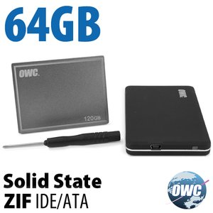 64GB OWC ZIF Solid-State Drive Kit for Early 2008 MacBook Air with tools and transfer enclosure.
