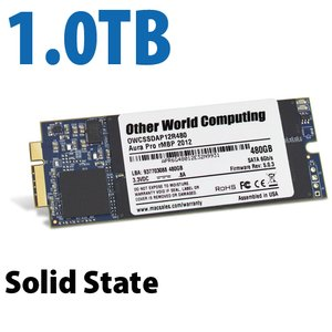 (*) 1.0TB OWC Aura 6G Solid-State Drive for 2012-13 MacBook Pro with Retina display.