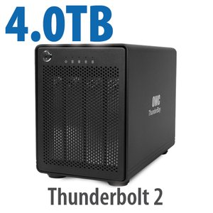 4TB OWC ThunderBay 4, four-drive HDD with dual Thunderbolt 2 ports, RAID 5 Solution.