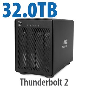 32TB OWC ThunderBay 4, four-drive HDD with dual Thunderbolt 2 ports, RAID 5 Solution