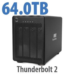 64TB OWC ThunderBay 4, four-drive HDD with dual Thunderbolt 2 ports, RAID 5 Solution