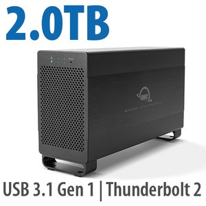 2.0TB Mercury Elite Pro Dual USB 3.1 Gen 1 & Thunderbolt 2 RAID Storage Solution - 7200RPM HDDs