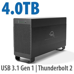 4.0TB Mercury Elite Pro Dual USB 3.1 Gen 1 & Thunderbolt 2 RAID Storage Solution - Solid-State Hybrid Drive