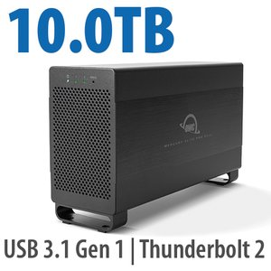 10.0TB Mercury Elite Pro Dual USB 3.1 Gen 1 & Thunderbolt 2 RAID Storage Solution - 7200RPM HDDs