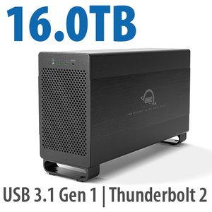 16.0TB Mercury Elite Pro Dual USB 3.1 Gen 1 & Thunderbolt 2 RAID Storage Solution - 7200RPM HDDs