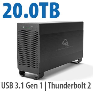 20.0TB Mercury Elite Pro Dual USB 3.1 Gen 1 & Thunderbolt 2 RAID Storage Solution - 7200RPM HDDs