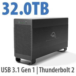 32.0TB Mercury Elite Pro Dual USB 3.1 Gen 1 & Thunderbolt 2 RAID Storage Solution - 7200RPM HDDs