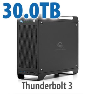 30TB (1x2TB U.2 NVMe SSD, 7x4TB HDD) ThunderBay Flex 8 Thunderbolt 3 Storage Solution