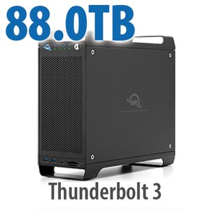 (*) 88TB (1x4TB U.2 NVMe SSD, 7x12TB HDD) ThunderBay Flex 8 Thunderbolt 3 Storage Solution
