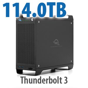 114TB (1x2TB U.2 NVMe SSD, 7x16TB HDD) ThunderBay Flex 8 Thunderbolt 3 Storage Solution