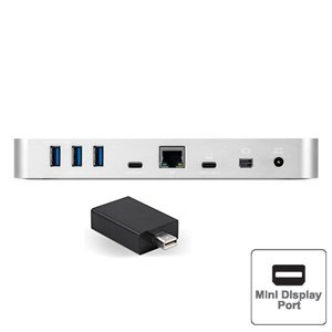 OWC 10-Port USB-C Dock with Mini DisplayPort to HDMI 4K Adapter - Silver
