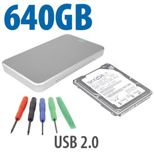 "DIY KIT: OWC Express USB 2.0 2.5"" Enclosure + 640GB HGST 5400RPM HDD"