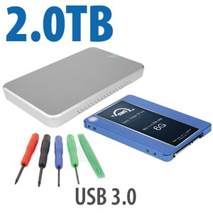 "DIY KIT: OWC Express USB 3.0/2.0 2.5"" Enclosure + 2.0TB Mercury Electra MAX 6G SSD + 5pc Toolkit."