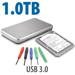 "DIY KIT: OWC Express USB 3.0/2.0 2.5"" Enclosure + 1.0TB WD 5400RPM HDD"