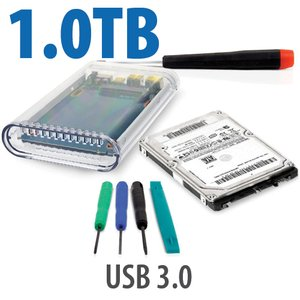 "DIY KIT: OWC On-the-Go USB 3.0 2.5"" Enclosure + 1.0TB HGST Travelstar 7200RPM HDD"