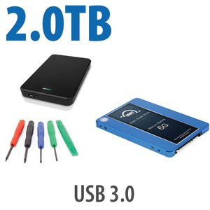 "DIY KIT: OWC Express USB 2.0 2.5"" Enclosure + 2.0TB OWC Mercury Electra 6G SSD"