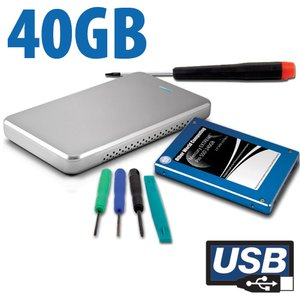 "DIY KIT: 40GB Mercury EXTREME Pro 3G SSD +OWC USB 2.0 Express 2.5"" Enclosure Kit"