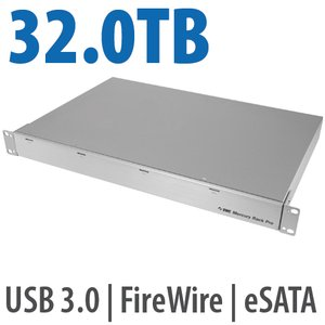 32.0TB OWC Mercury Rack Pro Enterprise Class 4 Bay eSATA, FW 800, FW 400 & USB 3.0 1U Rack Solution.