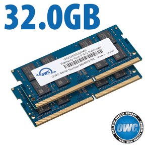(*) 32.0GB (2x 16GB) OWC 2666MHz DDR4 PC4-21300 260-Pin SO-DIMM Memory Upgrade Kit